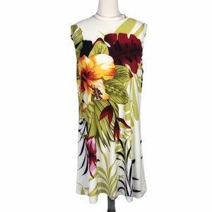 Ocean Blue Tropical Print Sheath Dress - Size XL